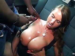 BumsBus - German MILF in a interracial threesome on the bus