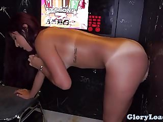 Facialized gloryhole babe fucks in sexbooth