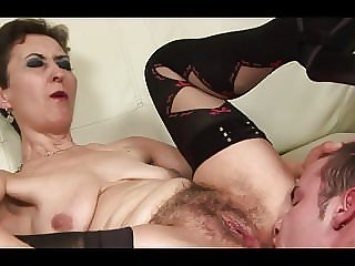 Hairy granny thanks at young boy