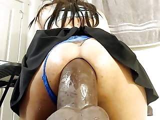 Trans ride an insanely huge dildo