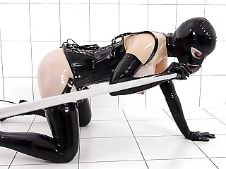 Prick on a Stick - Latex Lucy gets Drilled by a Fucking Mach
