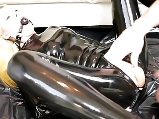 Blonde Slut Handcuffed, Gagged and Fucked In Black Latex