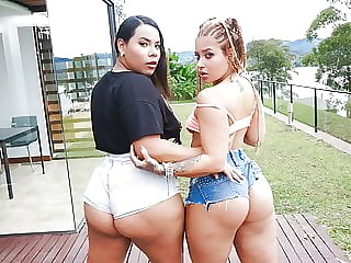 HER BIG ASS - Thick chicks with huge asses fuck one guy