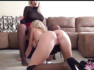 Busty blonde boss makes maid eat her pussy