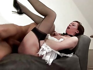 Mature stocking babe pussy fucked then sucks on cock