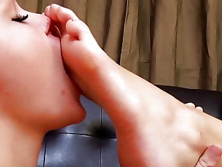 Maid worships two young girls feet