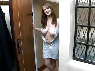 Sexy roomate shows her big boobs - Downblouse