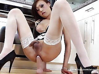 Horny Shemale Maid Jerks Off With Big Dildo In Her Ass