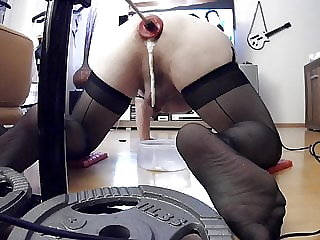 Get fucked in lingerie by fuckmachine, my ass loves it!
