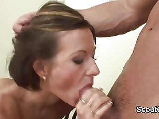 German Milf Teacher get anal fucked with big cumshot on puss