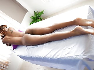 Skinny & pretty Thai babe massaged and fucked on table