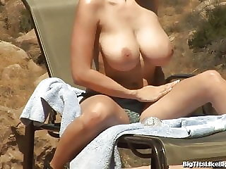 Busty Babe Gianna Michaels Titty Fucked Out On The Patio!